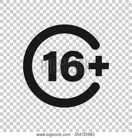 Sixteen Plus Icon In Flat Style. 16 Plus Vector Illustration On White Isolated Background. Censored