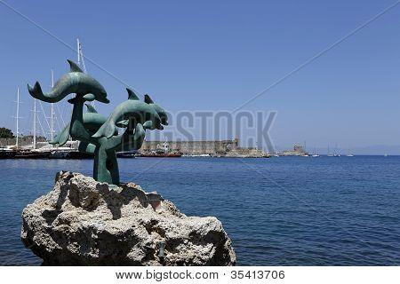 Dolphin Statue, Rhodes, Greece
