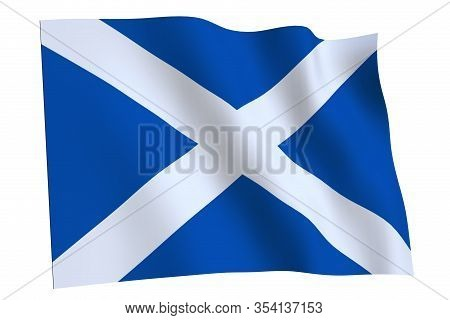 Waving Flag Of Scotland Isolated On White Background, 3d Render. Scotland Flag, Country Of United Ki