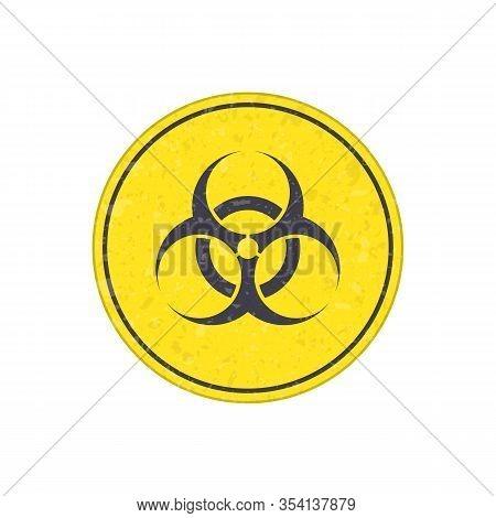 Biohazard Icon. Warning Sign Of Virus. Vector Biohazard Symbol Isolated On White Background. Emblem