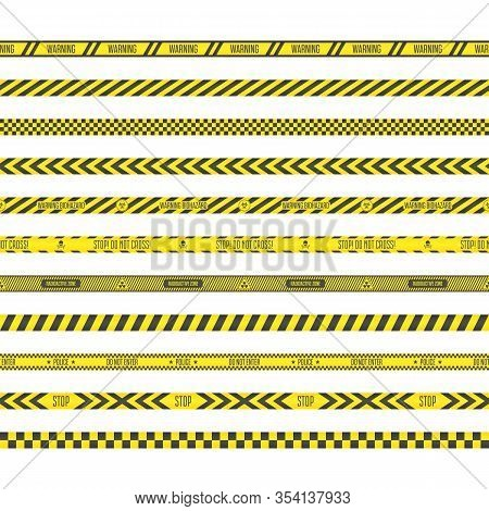 Black And Yellow Stripes. Seamless Barricade Tape Collection Isolated On White Background. Set Of Da