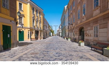 Beautiful Downtown Street Of Gyor On A Sunny Day Without People