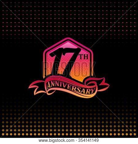 17th Anniversary Celebration Logotype Pink And Yellow Colored.  Seventeen Years Birthday Logo On Bla