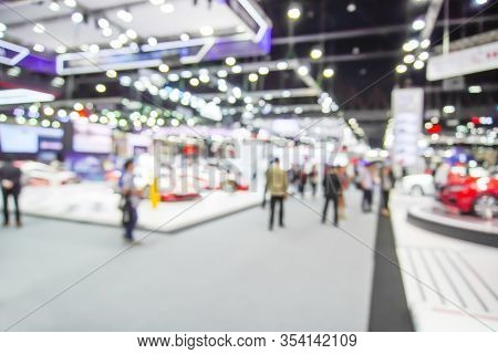 Abstract Blur, Defocused Background Of Event With People In Public Exhibition Hall, Business Tradesh