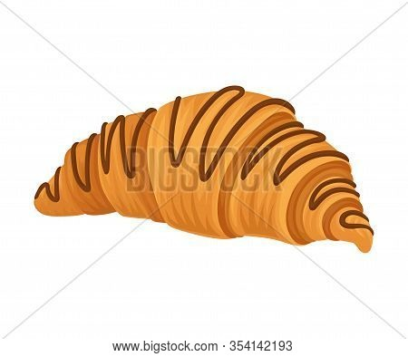 Sweet French Croissant With Crispy Crust Vector Food Element