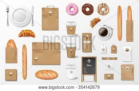Mockup For Bakery Shop, Cafe, Restaurant Brand Identity. Realistic Bakery Package Mockup Cup, Pack,