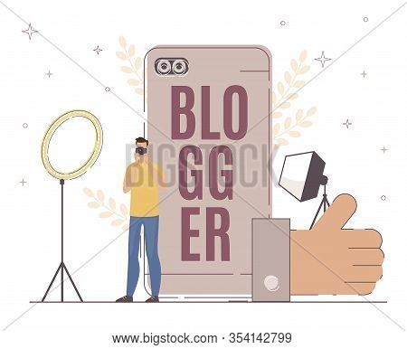 Blogger Work With Lighting Fixture For Good Result. Man Looking At Camera. Large Thumb Up Sign. Main