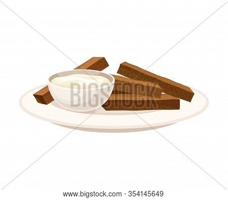 Crunchy Sticks Of Baked Bread With Cream Sauce Vector Illustration