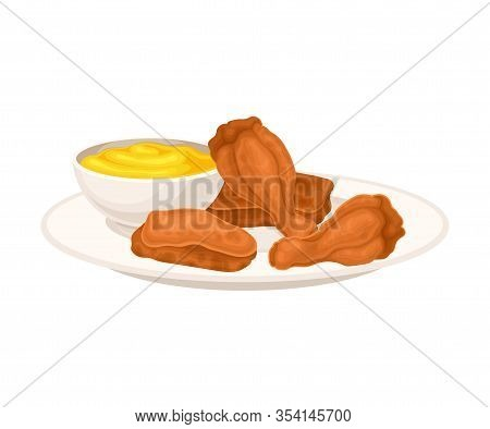 Crunchy Deep Fried Chicken Legs On Plate With Cheese Sauce Vector Illustration