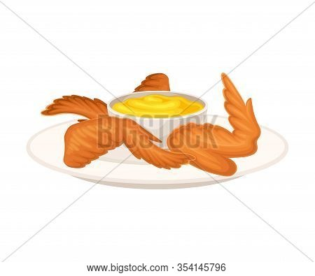 Crunchy Deep Fried Chicken Wings On Plate With Cheese Sauce Vector Illustration