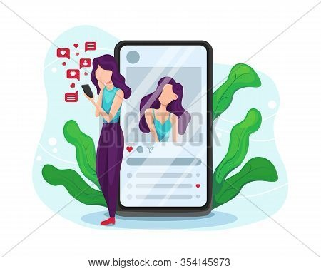 Girl Addicted To Social Media And Online Feedback. Internet And Social Networks Addiction. Addiction