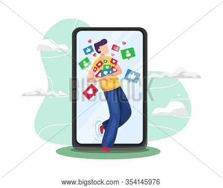 Vector Illustration Young Man Addicted Social Media. Young Man Grabbing Like Notifications, Addicted