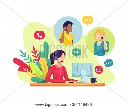 Vector Illustration Female Customer Service. Hotline Operator Advises Client, Online Global Technica