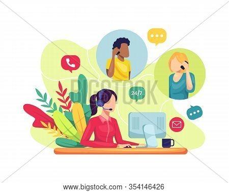 Vector Illustration Female Customer Service. Hotline Operator Advises Client, Online Global Technica