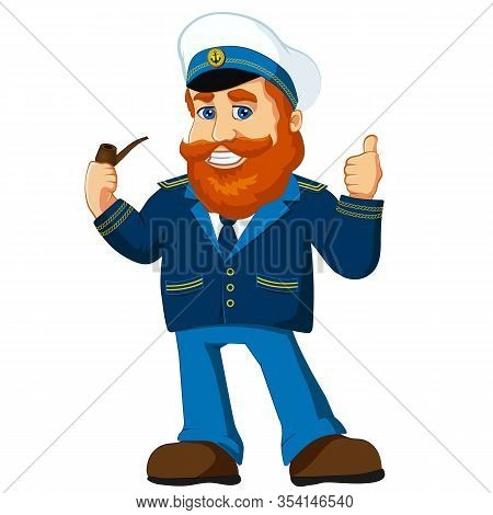 Navy Captain Character Cartoon Mascot, Old Salor.