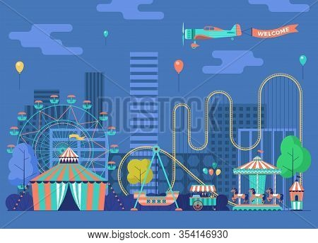 Amusement Park With Various Attractions. City Area For Recreation And Entertainment. Vector Flat Ill