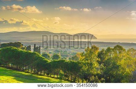 Maremma Sunset Panorama. Countryside, Sea And Elba Island On Horizon At Sunset. San Vincenzo, Tuscan