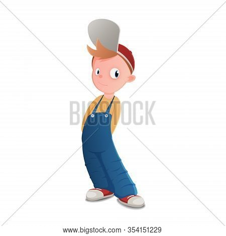 Isolated Illustration Of A Boy In A Blue Jumpsuit And Red Cap.