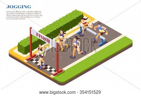 Sprint Hurdle Race Runners Jumping Over Obstacles Crossing Finish Line Isometric Composition Sport J