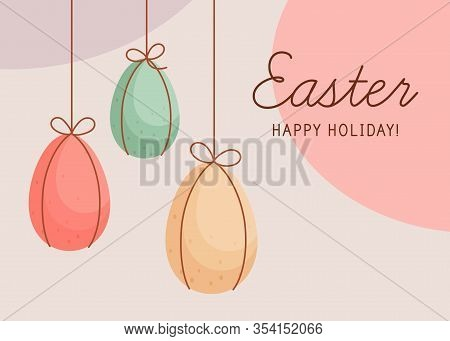 Happy Easter Horizontal Greeting Card. Easter Decorated Eggs Are Hanging On Strings. Chocolate Color