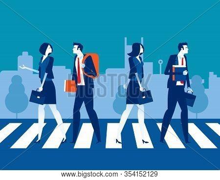 Urban People Cross Road At Crosswalk. Concept Business People Vector Illustration, Sidewalk, Pedestr