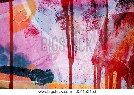 Colorful Surface Texture With Splashes Of Paint And With Paint That Runs Down On A Metallic Surface
