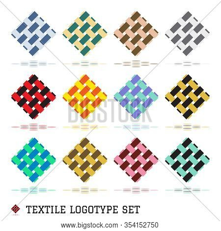 Textile Logo And Emblems. Unusual Templates Logotype And Badges For Creativity And Needlework. Vecto