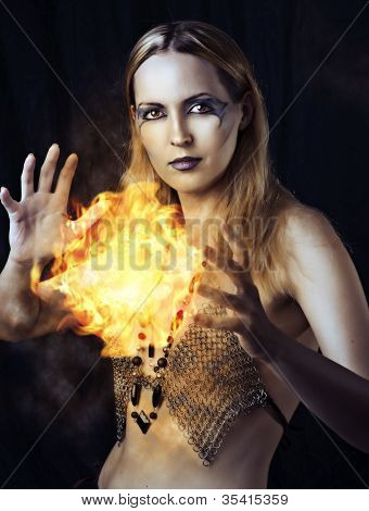 Dangerous Woman Witch With Fire Ball