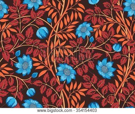 Vintage Floral Seamless Pattern With Flowers And Foliage On Dark Background. Futuristic Unreal Unusu