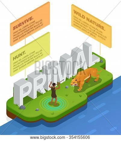 Caveman Prehistoric Primitive People Infographics With Scene Of Human Hunting Tiger And Blocks With