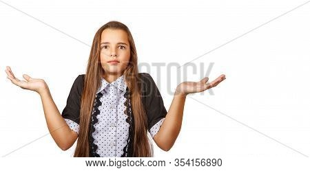 Surprised Teen Girl Throwing Up Her Hands In Bewilderment Closeup Isolated On White