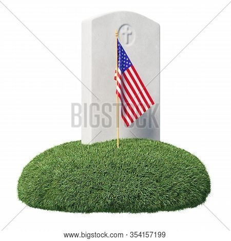 Headstone And Small American Flag On Green Grass Islet In Memorial Day Under Sun Light Isolated On W