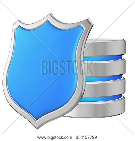 Data Base Behind Metal Blue Shield On Left Protected From Unauthorized Access, Data Privacy Concept,