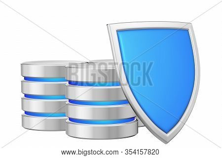Databases Group Behind Metal Blue Shield On Right Protected From Unauthorized Access, Data Protectio