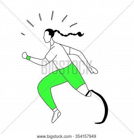 Outline Illustration Of Girl Runner With Prosthetic Leg. Jogger Sportswoman. Stylized Strong Athleti