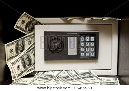 Steel Electronic Safe With Money