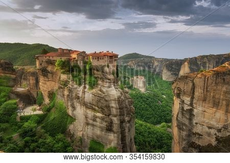 Beautiful Scenic View, Holy Orthodox Monastery Of Rousanou (st. Barbara) And Varlaam, Bright Green F