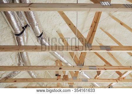 House Under Construction The Roof Of Air Conditioner Vents Of Wooden Beams At Construction