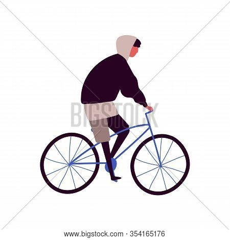 Cartoon Hipster Male Riding City Bicycle Vector Flat Illustration. Active Teenager Man On Retro Bike