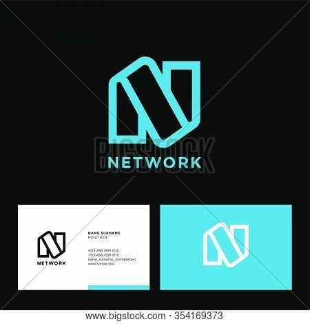N Monogram. Network Logo. Azure Linear N Monogram, Isolated On A Contrast Background. Business Card.