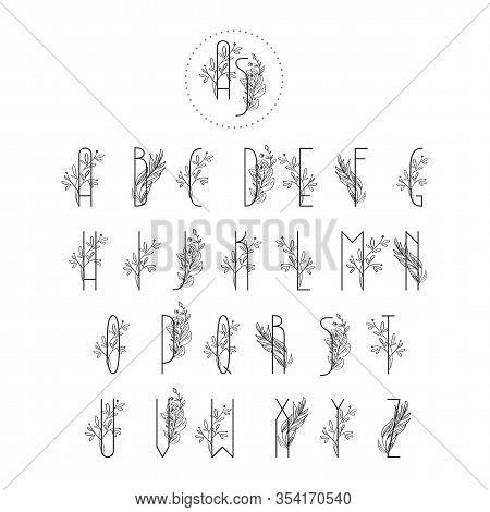 Summer Or Spring Floral Font. Floral Vintage Uppercase Alphabet Logo. Wedding Invitation Template, E