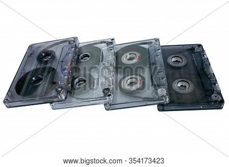 Old Vintage Cassette Tapes On White Background. Multiple Classic Cassette Tapes.