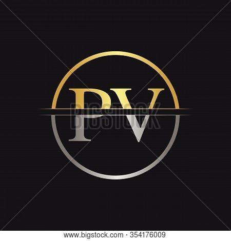 Initial Monogram Letter Pv Logo Design Vector Template. Pv Letter Logo Design