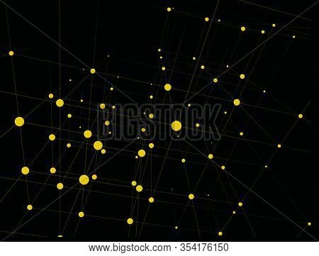 Trendy Line Art Pattern With Yellow Dots On Black Background For Decorative Design. Abstract Yellow