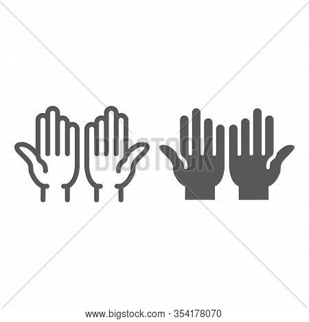 Islamic Prayer Line And Glyph Icon, Islam And Religion, Prayer Hands Sign, Vector Graphics, A Linear