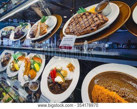 Okinawa, Japan - Sep 3, 2019 : Food Model Restaurant Menu. Steak House Japanese Food Lunch Set Okina