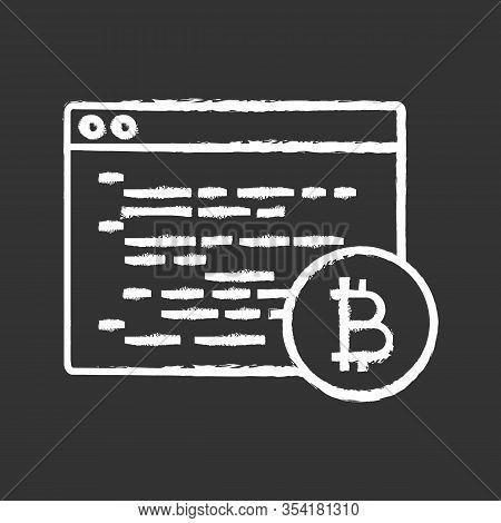 Bitcoin Mining Software Chalk Icon. Blockchain Coding. Crypto Mining Programming. Blockchain Develop