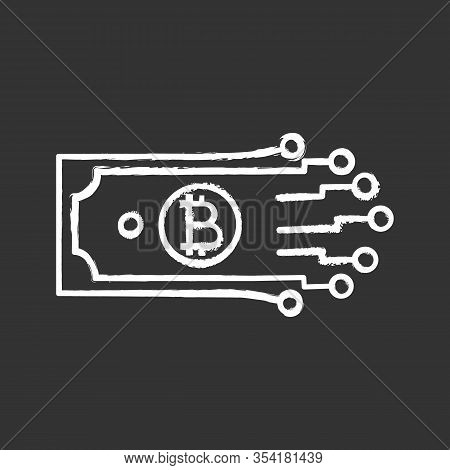 Digital Money Chalk Icon. Bitcoin. Cryptocurrency. E-payment. Paper Money With Chipset Pathway. Cryp