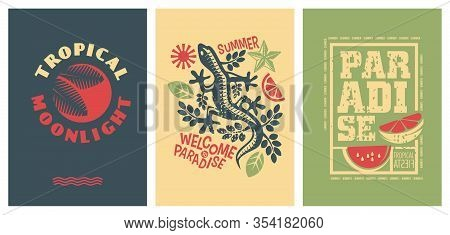 Summer Joy Set Of Banners. Tropical Summer Posters. Welcome To Paradise. Vector Summer Shirts Graphi