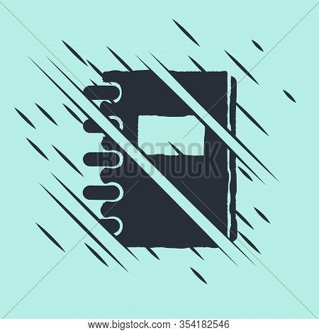 Black Notebook Icon Isolated On Green Background. Spiral Notepad Icon. School Notebook. Writing Pad.